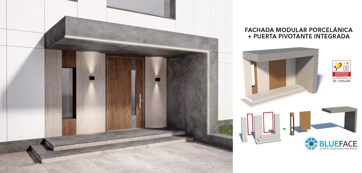 Renovaantes – Fachada porcelánica modular y puerta integrada