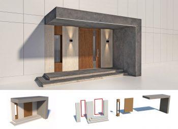 Renovaantes - Fachada porcelánica y puerta integrada